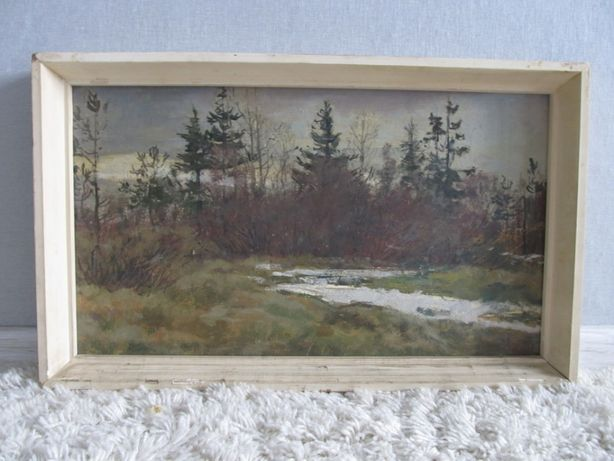"""Исаёнок Н.И. (1947) """"Пейзаж с елям"""" к/м, 21*48 см"""