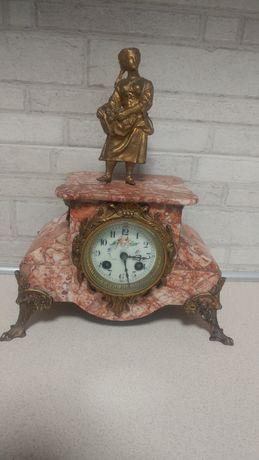 Часы каминные кабинетные мрамор бронза эмаль на ходу с боем