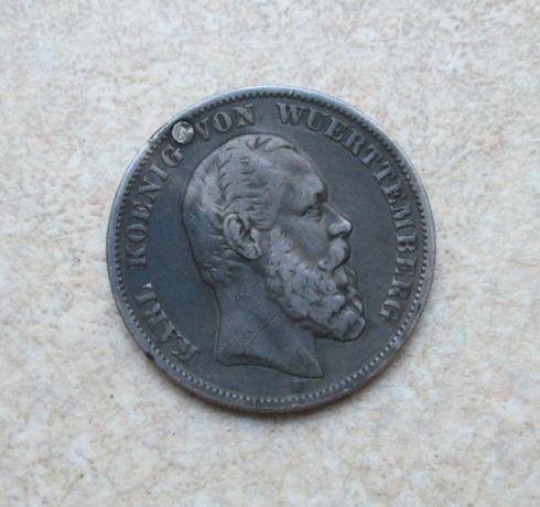 Германия 5 марок 1876 F Karl Вюртемберг Большая Редкая Серебро