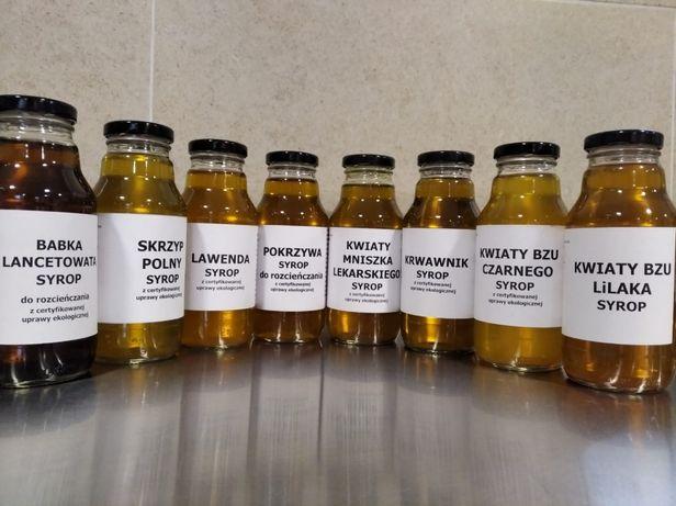 Syropy ziołowe, soki z ekologicznej, certyfikowanej uprawy