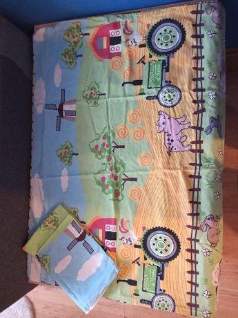 Pościel dla dziecka kołderka 120x90 i poduszka 40x60 Wieś, traktory
