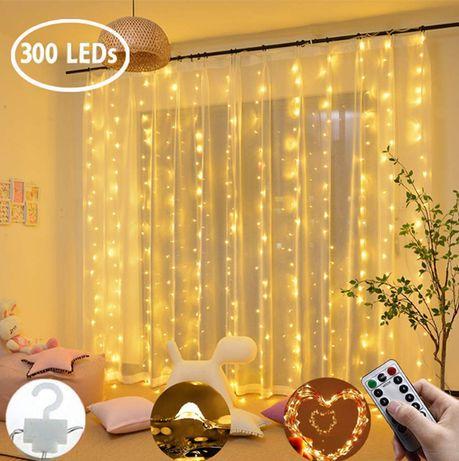"""Гирлянда светильник """"стена"""" """"водопад"""" 300 LED USB +ДУ 3*3 м 10 нитей"""