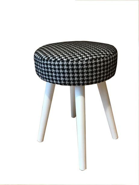 Stołek tapicerowany, taboret patyczak w pepitkę, stołki, pufa