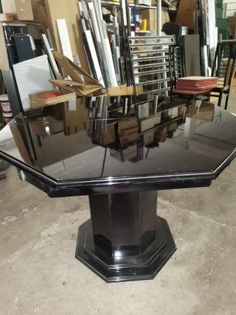 Mesa de sala octógonal lacada preta com 6 cadeiras