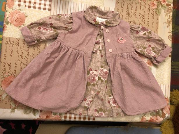 Детское платье двойное - велюр, 9-12 мес