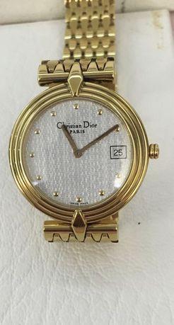 Christian Dior relógio quartz plaque ouro