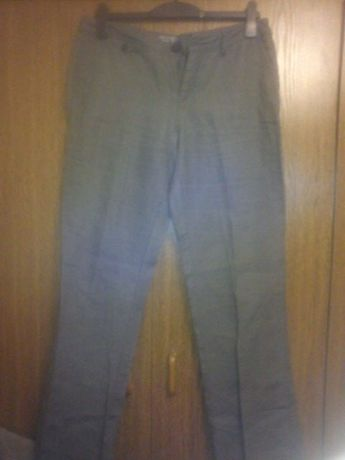 len 100 %,szare spodnie z lnu,spodnie lniane Esprit rozmiar 40 L