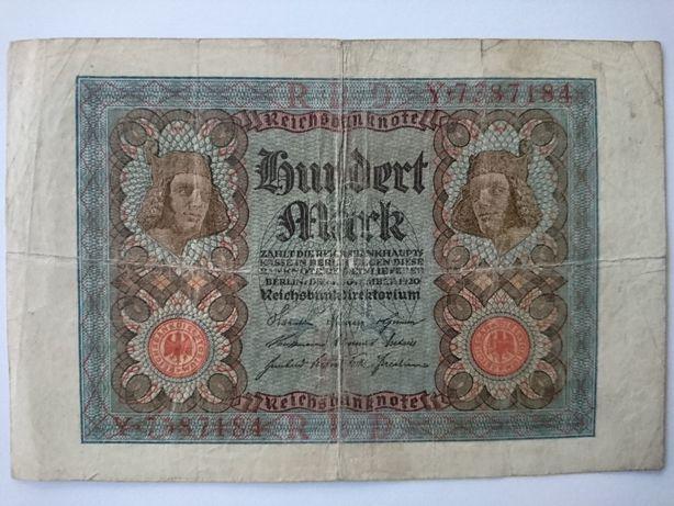 Banknot 100 marek z 1920r.