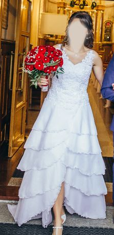 Oryginalna suknia ślubna w stylu hiszpańskim 2w1 krótka+długa z trenem
