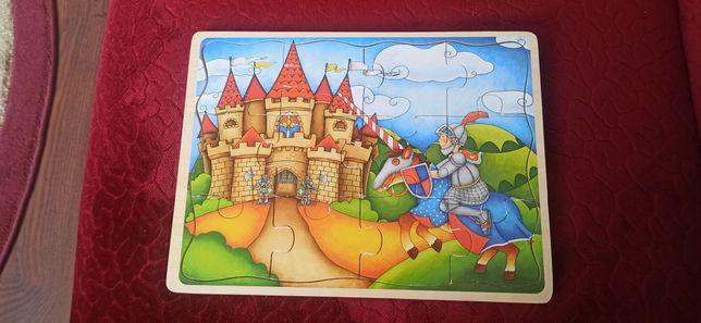 Puzzle drewniane, klocki 30x22 cm, stan bardzo dobry