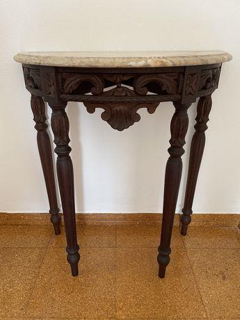 Conjunto vintage de Credência (madeira com pedra) e espelho (madeira)
