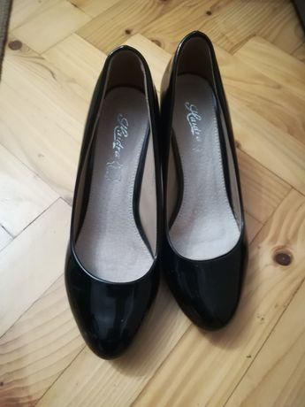 Buty szpilki czarne lakierki 38 nowe