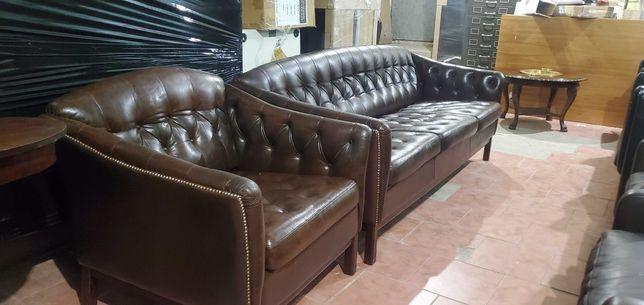 Диван кожаный , кресло  коричневые Англия