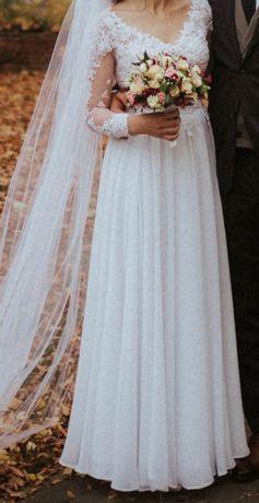 Suknia ślubna rustykalna koronka długi rękaw jesienny ślub