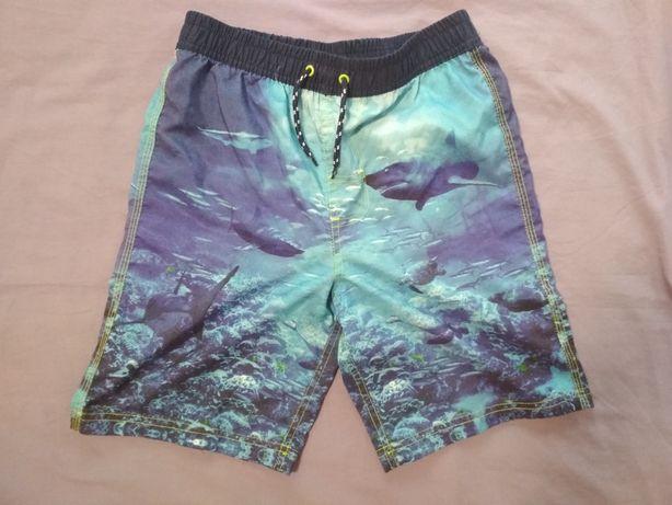 Плавки шорты для плаванич 8-10 лет голубые белые с акулами Рост 140