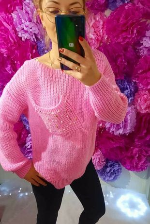 Sweterek cukierkowy róż