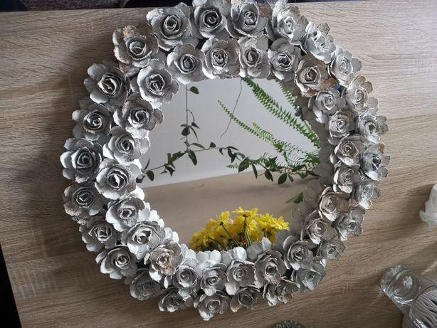 Lustro w stylu Glamour/ ręczna robota/białe róże postarzane na zloto