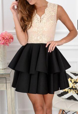 sukienka EMO r.40 na wesele beżowa złota czarna piankowa koronkowa