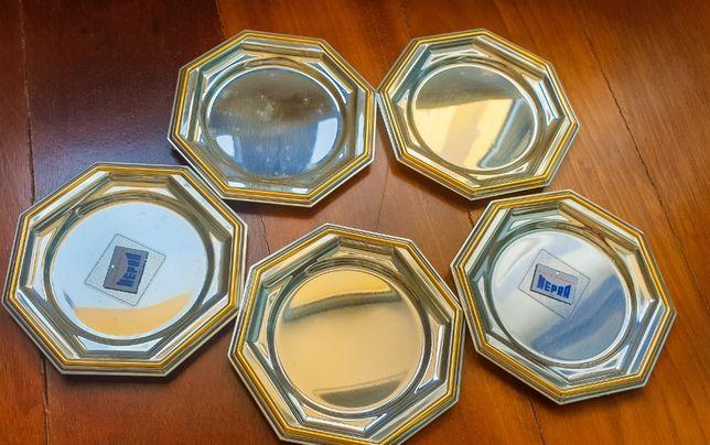5 Bases de copos inox com barra em ouro / marca Mepra