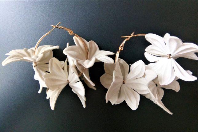 Kolczyki z kwiatem beżowym HandMade ślubne weselne na co dzień