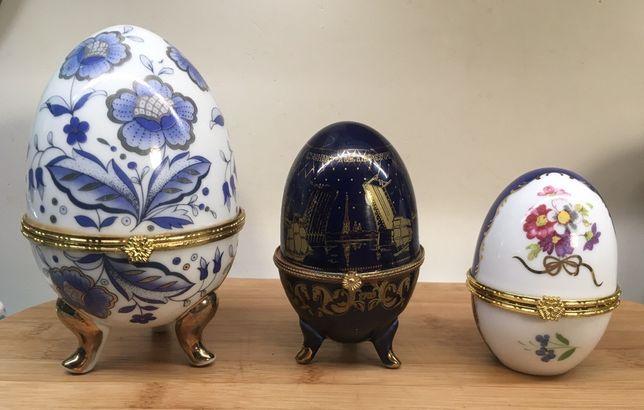 Porcelanowe jajka szkatułki Yamasen, złocone jak Faberge