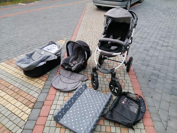 Wózek dziecięcy 3w1 spacerówka gondola fotelik emjot black&white