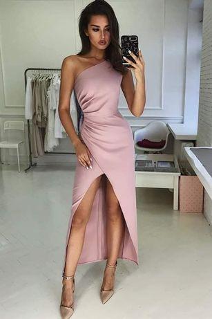 Sukienka imprezowa długa balowa różowa obcisła z rozporkiem roz. XS