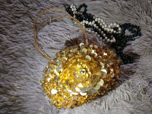 Сумка-сфера круглая вечерняя для выпуского золотая сумочка с пайеток