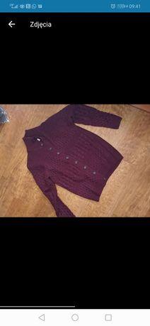 Męski sweter gruby ciepły wiśniowy L kardigan półgolf