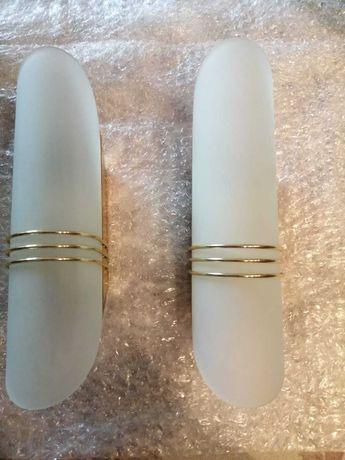 Kinkiety białe szkło matowe i złoto 2 szt.