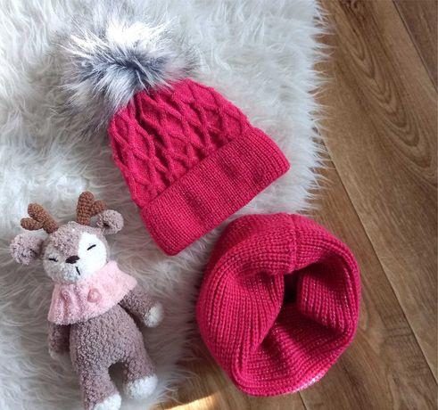 Зимняя шапка и снуд на девочку
