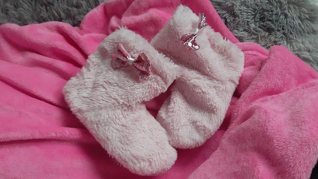 Ciepłe, różowe kapciuszki dla dziewczynki dł. Wkładki 20 cm