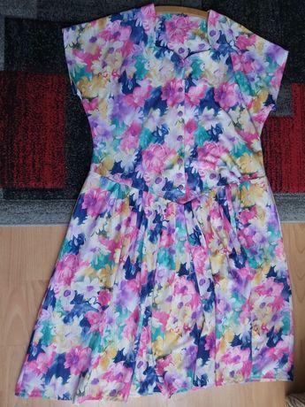 Suknia sukienka lato zwiewna kwiaty kwiatki letnia krótki rękaw 18 48