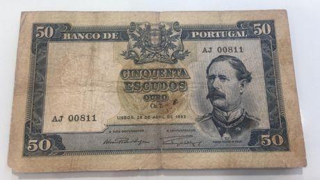 Nota 50 escudos Portugal 1953 - Nota 00811