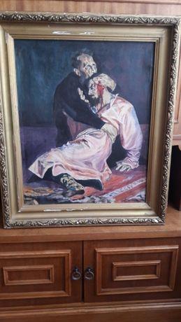 """Старинная картина """"Иван Грозный убивает своего сына"""". Холст. Масло"""