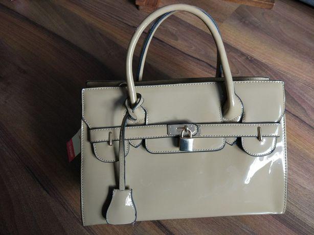 Nowa beżowa torebka kuferek