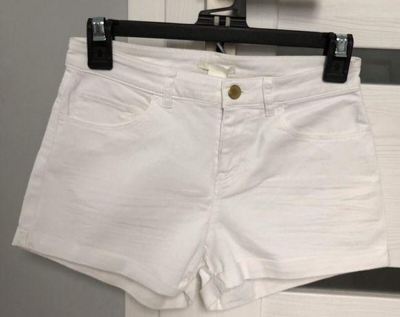 Białe spodenki szorty dżinsowe jeansowe H&M