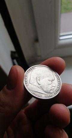 Stara srebrna duża moneta 5 mark Hindenburg Niemcy