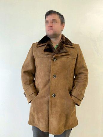 р.М-Л мужская куртка дублёнка светло коричневого цвета стильная