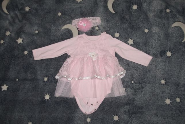 Нарядное Боди-платье и повязочка, размер 64/68