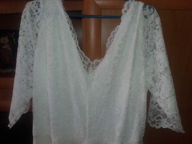 Nowa biala długa suknia r 52 z koronką