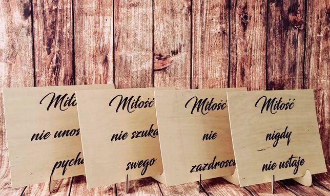 Hymn o miłości - tabliczki drewniane, kościół, plener, rustykalne