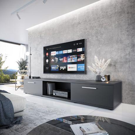 Duża nowoczesna SZAFKA RTV LUCO czarna 176 pod TV