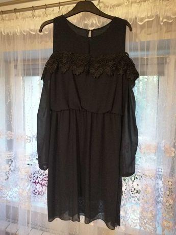 Granatowa sukienka z koronką bez ramion M
