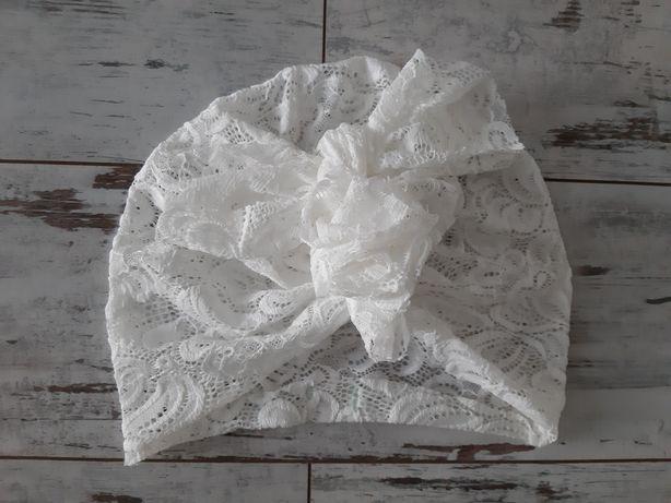 Looks by Luks oryginalny turban koronkowy lace, kolor śmietankowy, M