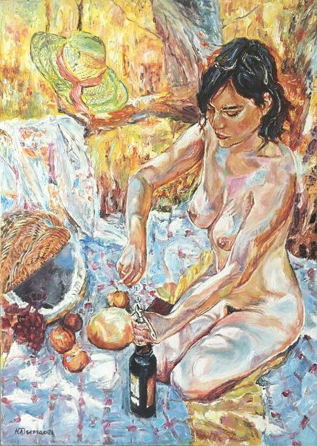 """Картина маслом """"Девушка на пикнике"""",художник Обертас Ю.А."""