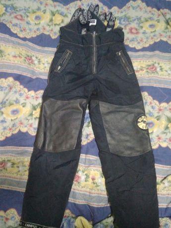 Лыжные зимние штаны с дерматином, 164 рост