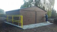 garaże blaszane, dwuspadowy 6 x 6, struktura drewna-orzech, profil
