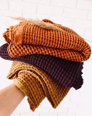Jesienny duży kocyk lniano bawełniany. Handmade