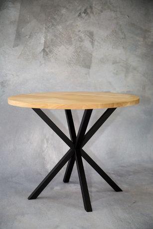 Stół okrągły dębowy lite drewno rozkładany stal dąb loft skandynawski